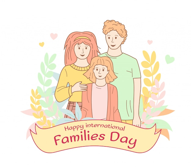 International family day poster. outline flat cartoon style portrait with flower wreath ribbon