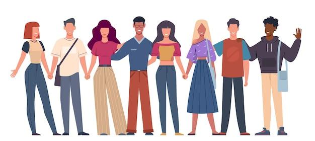 국제 친구. 다민족 사회 화합 젊은이들이 함께 서 있고, 다양성 다문화 공동체. 벡터 세계화 개념