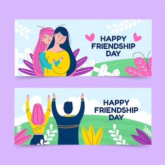 International friendship day banners set