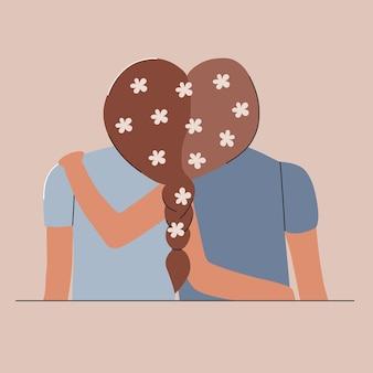 International friendship day. hugs best friends with flowers in their hair. premium vector