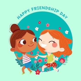 International friendship day illustration Premium Vector