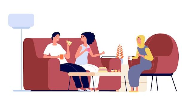 Международная дружба. мусульманская женщина и европейская пара вместе пьют чай. счастливые мультикультурные люди, разной национальности - друзья векторные иллюстрации. мультфильм международных людей