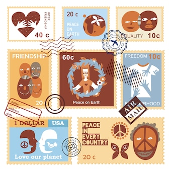 International friendship symbols stamps