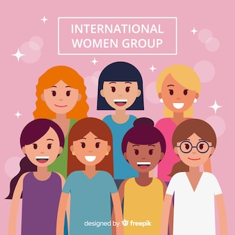 International group of women with flat design