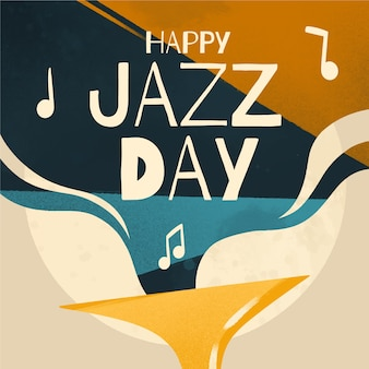 International happy jazz day with musical notes