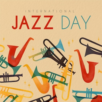 International happy jazz day with saxophones