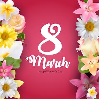 International happy women's day 8 march floral greeting card