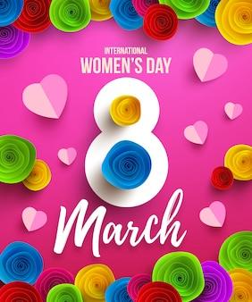 国際幸せな女性の日、3月8日の休日ポスターまたはバナー紙の花。幸せな母の日。