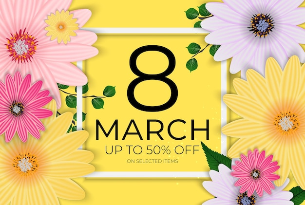 Международный счастливый женский день 8 марта продажа баннер.