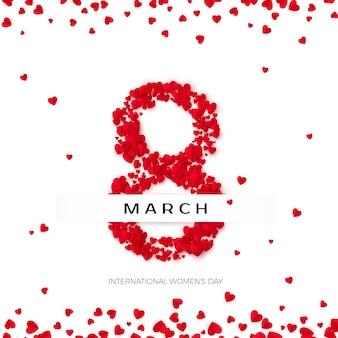 Концепция празднования международного счастливого женского дня. восьмерка выложена сердечками на белом фоне, украшенном разбросанными сердечками. иллюстрация