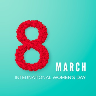 International happy women's day celebration concept. with stylish heart decorated text 8th march on turquoise background.  illustration