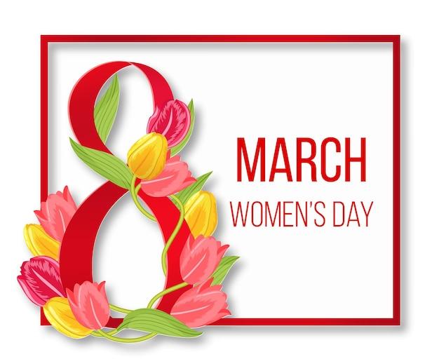 国際的な幸せな女性の日のフレーム。女性8人が赤く行進します。