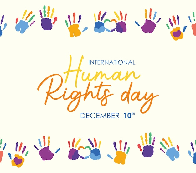 International human rights and colored hands prints design, december 10 theme.