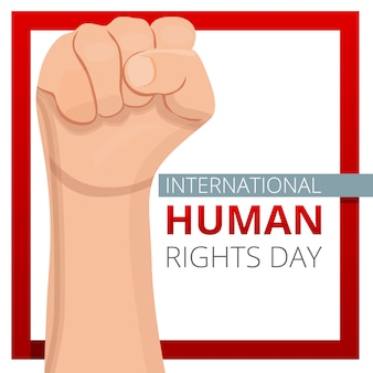 International human rights day  background, cartoon style