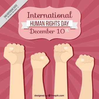 International human rights day background with fists