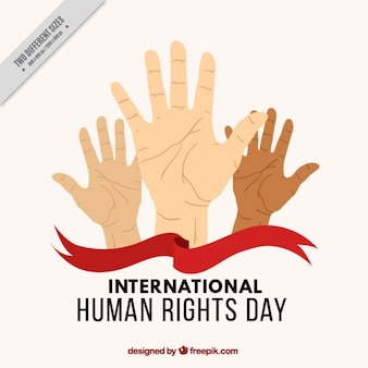 International human rights day background with hands