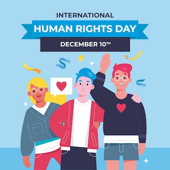 International human rights day flat design