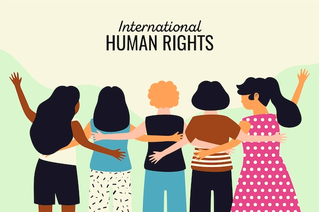 International human rights day hand drawn