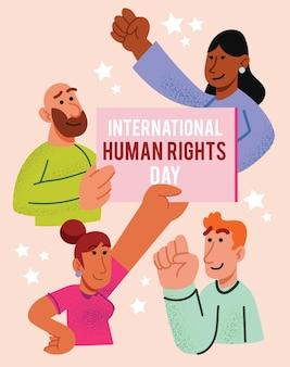 International human rights day hand drawn