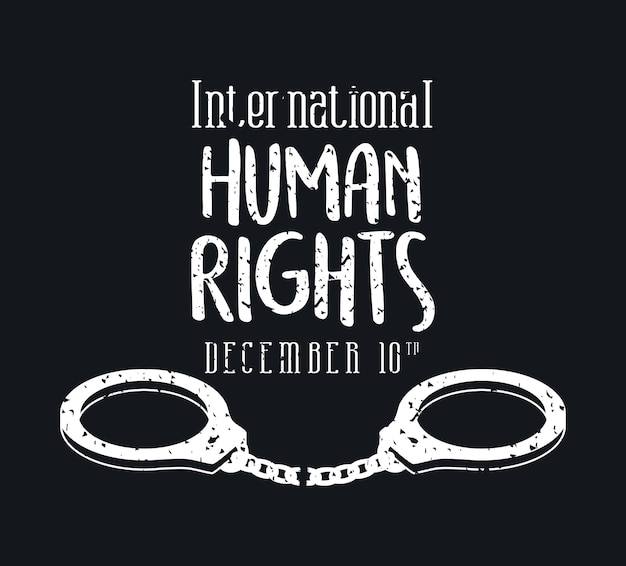 International human rights and handcuffs design, december 10 theme.