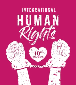 International human rights and hands with cuffs design, december 10 theme.