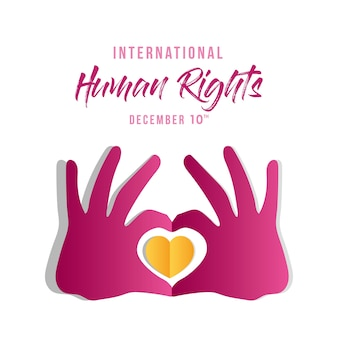 International human rights and hands with heart design, december 10 theme.