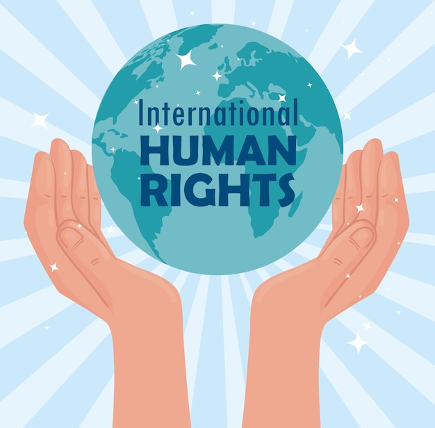 International human rights lettering poster with hands lifting planet illustration design