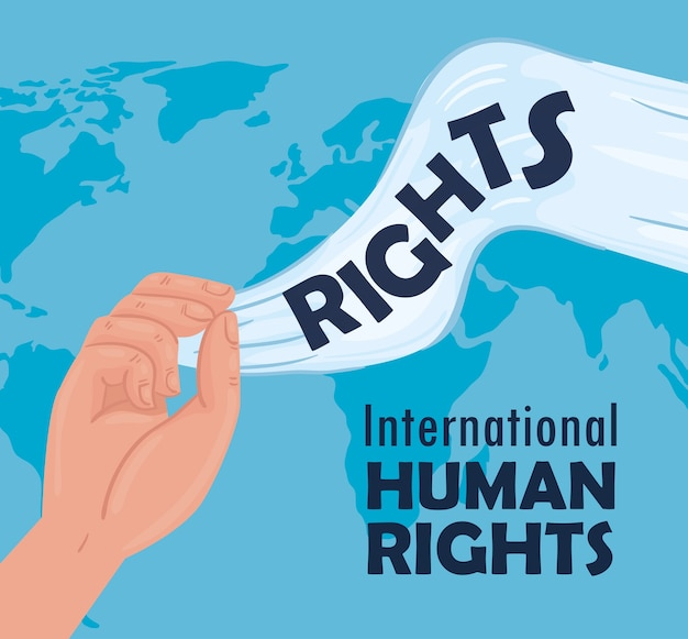 Международный плакат с надписью о правах человека с руками, размахивающими белым флагом, дизайн иллюстрации