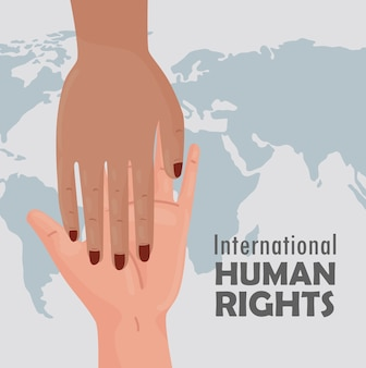 International human rights lettering poster with interracial handshake illustration design