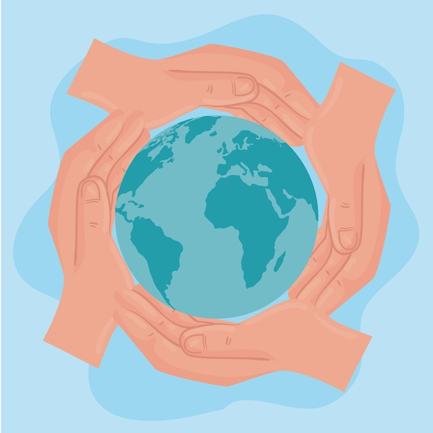 International human rights poster with hands around of world illustration design