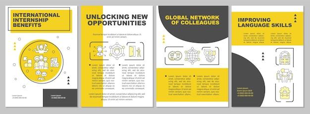 Шаблон брошюры о преимуществах международной стажировки. глобальная сеть. флаер, буклет, печать листовок, дизайн обложки с линейными иконками. векторные макеты для презентаций, годовых отчетов, рекламных страниц