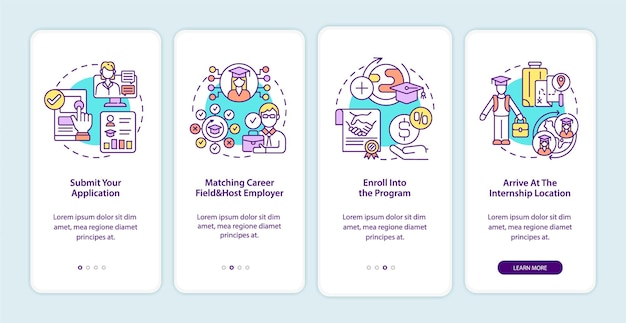 International internship procedure onboarding mobile app page screen. submission walkthrough 4 steps graphic instructions with concepts. ui, ux, gui vector template with linear color illustrations