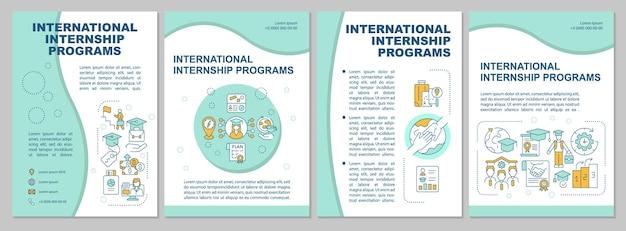 국제 인턴쉽 프로그램 브로셔 템플릿입니다. 외국에서 공부하다. 전단지, 소책자, 전단지 인쇄, 선형 아이콘이 있는 표지 디자인. 프레젠테이션, 연례 보고서, 광고 페이지용 벡터 레이아웃