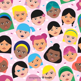 International and interracial group of women pattern
