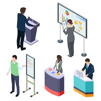 International isometric businesspeople or training lecturers or promoters vector