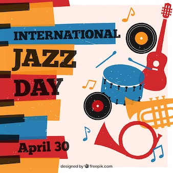 International jazz background with colorful musical instruments