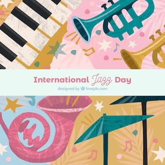 Priorità bassa di giorno di jazz internazionale con strumenti diversi