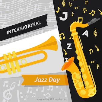 International jazz day background with musical instruments