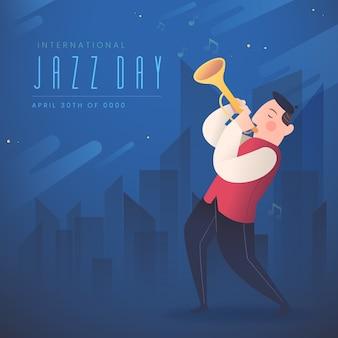 International jazz day flat design