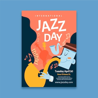 International jazz day flyer template concept