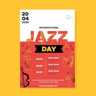 Международный день джаза флаер шаблон в плоском дизайне