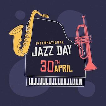 さまざまな楽器と国際ジャズの日イラスト