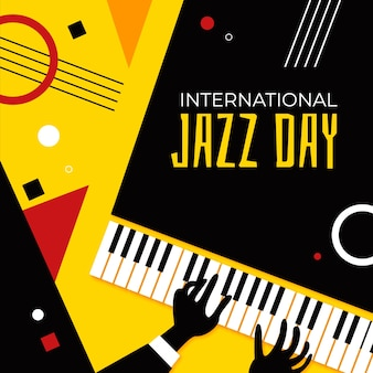 International jazz day illustration with lettering
