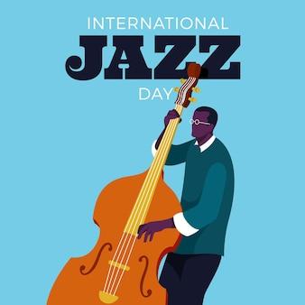 Иллюстрация международного дня джаза с мужчиной и басом