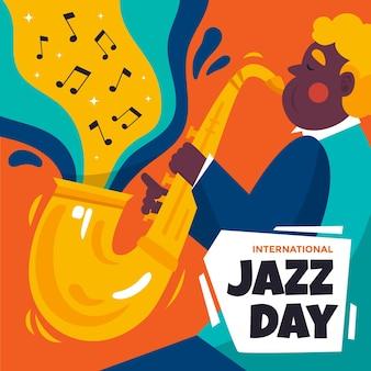 Иллюстрация международного дня джаза с мужчиной и саксофоном