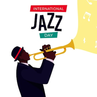 International jazz day illustration with man and trumpet