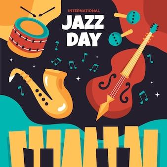 Иллюстрация международного дня джаза с музыкальными инструментами