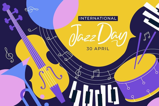 International jazz day illustration with musical instruments
