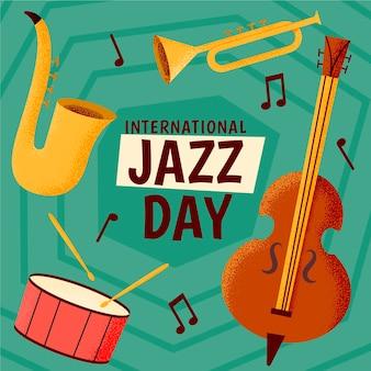 楽器と国際ジャズデーのイラスト