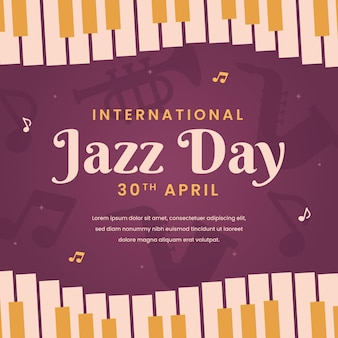 International jazz day illustration with piano keys